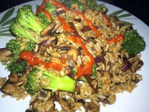 Oil-free vegan veggie fried rice