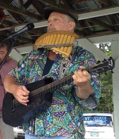 Mark playing the Blackbird Rider travel guitar