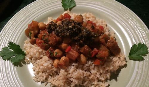 Moroccan eggplant and garbanzos