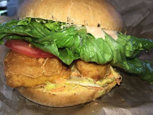 Vegan fish sandwich at Evolution