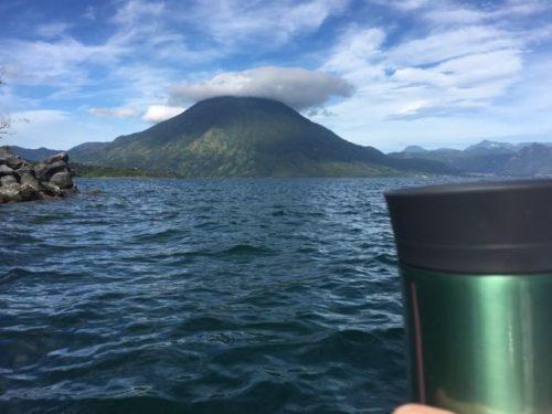 kayaking with my coffee mug and San Pedro volcano