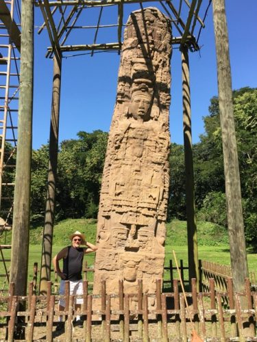 Mark next to one of the stelae at Quiriguá