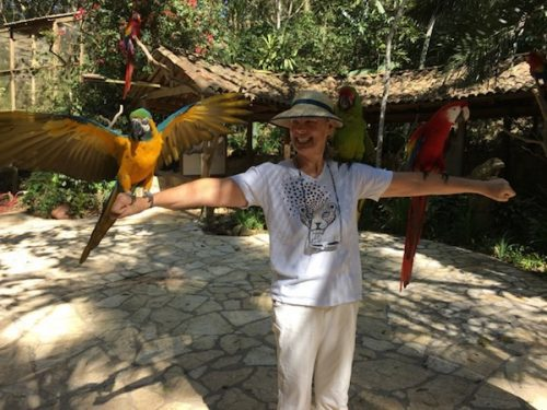 Photo op with birds at Macaw Mountain, Copán
