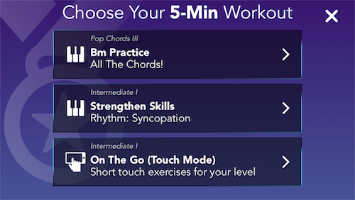 Simply Piano 5 minute workout screen
