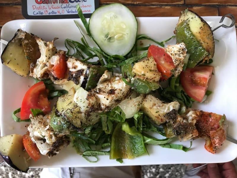 Veggie kebob at the California Cafe in Havana