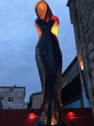 Fabric sculpture at Fabrica de Arte Cubano