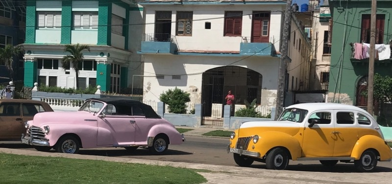 Old cars on a Havana street